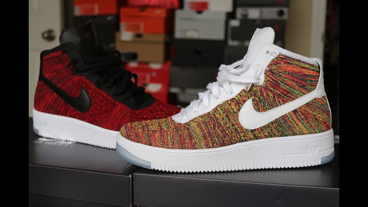 6bc3f582b20f2b Nike AF1 Flyknit Mid Review w  on foot (Multicolor   Red) - YouTube