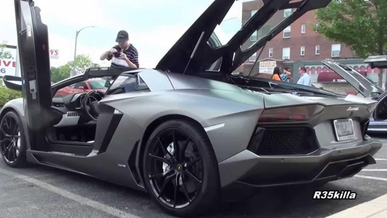 matte grey aventador roadster start rev accelerate