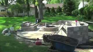 Paver Fireplace Construction Timelapse