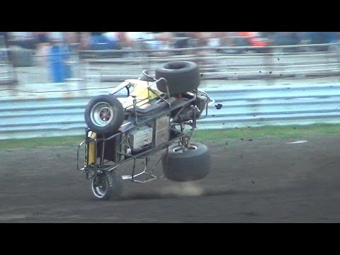 Justin Owen Crash 6-27-14 (Gas City Speedway)