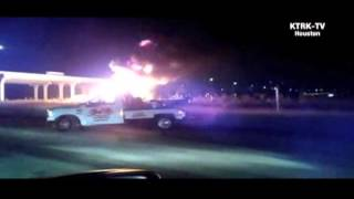Raw: Supposed Fuel Tanker Explosion In Harris County, Texas View #1