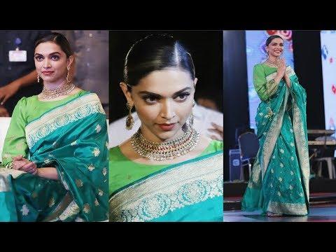 Deepika Padukone Looks Gorgeous In Green Banarasi Saree At ...