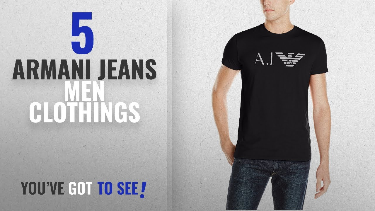 742221dece2c Top 10 Armani Jeans Men Clothings [ Winter 2018 ]: Armani Jeans Men's AJ  Eagle Logo T-Shirt, Black,