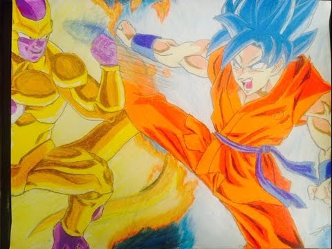 Speed drawing Goku SSGSS vs Golden freezerDibujo de Goku SSJ DIOS
