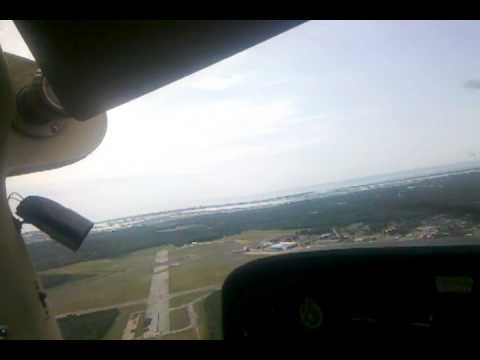 Landing at Cape May County Airport (KWWD), Cape May, NJ, runway 1, Cessna 172P