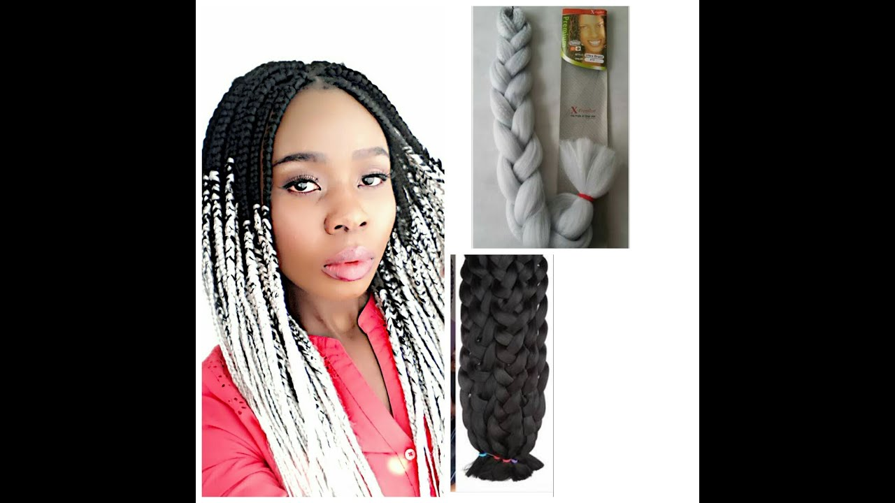 HOW TO GREY OMBRE BOX BRAIDS USING TWO COLOURED BRAIDS