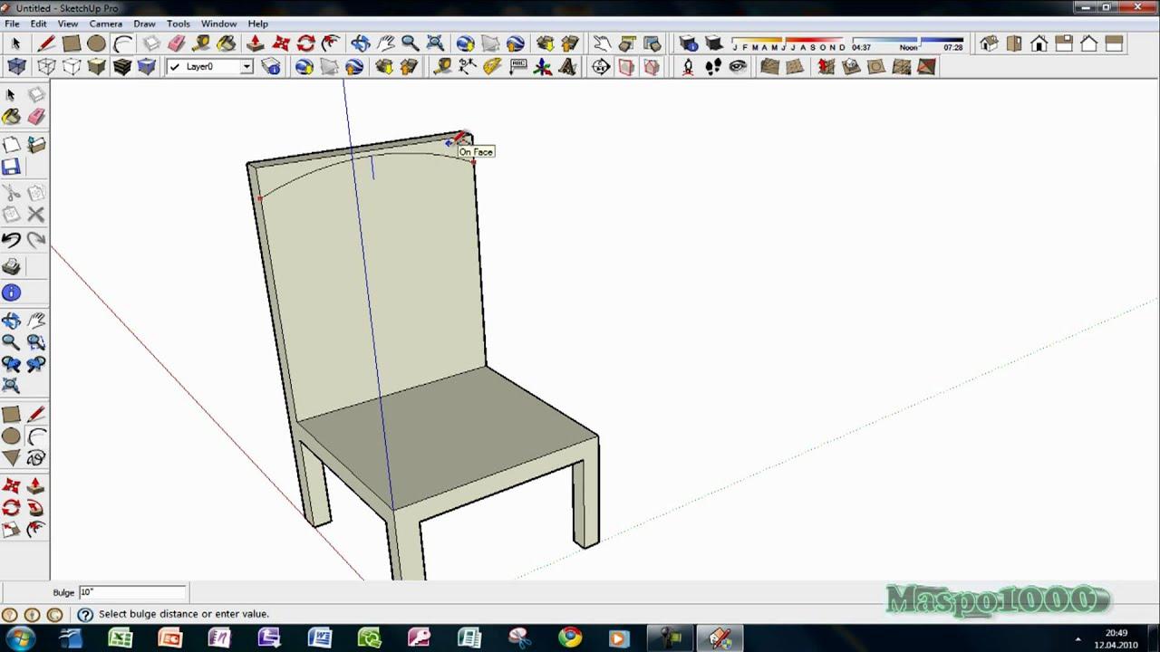 google sketchup 7 pro einfacher stuhl erstellen youtube. Black Bedroom Furniture Sets. Home Design Ideas