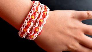 """Как сделать браслет из резинок в стиле """"Бабочка"""". Rainbowloom bracelet Biutterfly"""