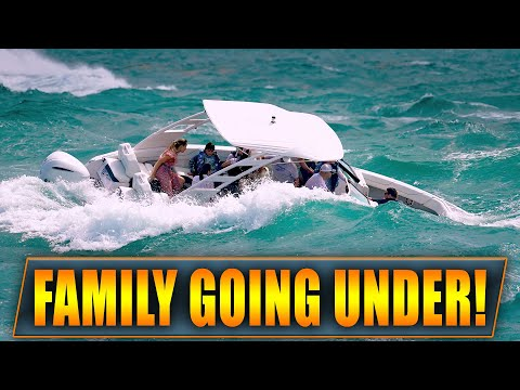 WARNING: FAMILY IN TROUBLE AT HAULOVER INLET !   BOAT TAKES ON TOO MUCH WATER !   WAVY BOATS