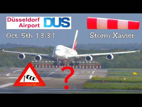 Unbelievable A380 storm crosswind landing - Excellent job or