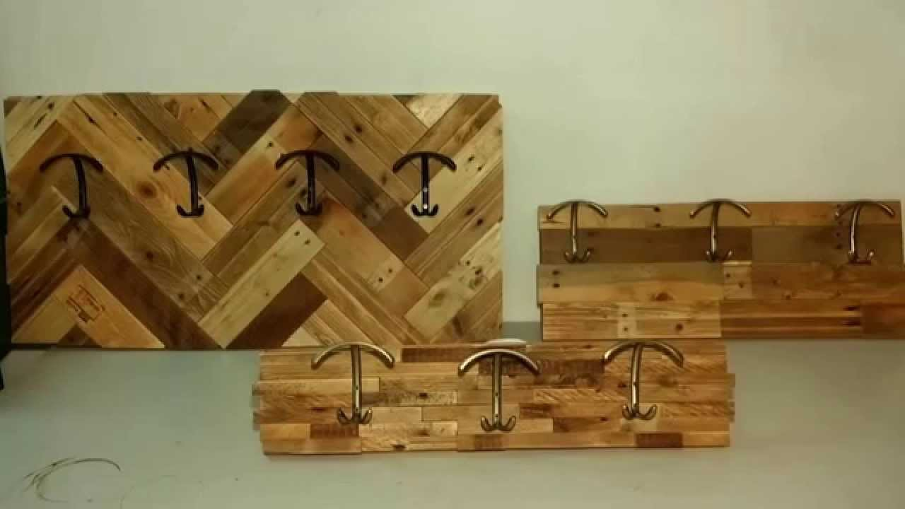 How to make coat racks with pallet wood youtube for How to make a wood rack
