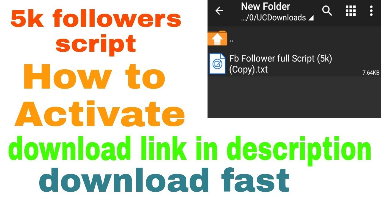 5k followers script   How to Activate   by Facebook tech