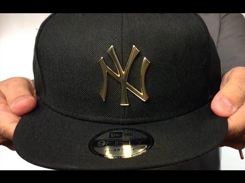9b82afa270c Yankees  GOLD METAL-BADGE SNAPBACK  Black Hat by New Era - YouTube