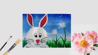 How to paint a Easter Bunny   Acrylic Painting