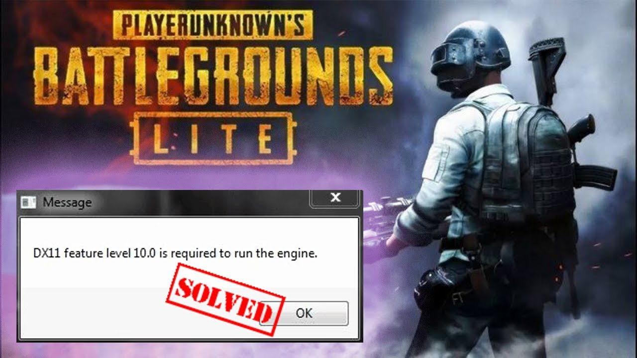 PUBG PC Lite - FIX ERROR DirectX 11 feature level 10 1/10 0 is required by  the game   