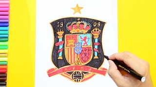 How to draw and color Spain National Football Team Logo