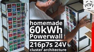 Homemade 60kWh Powerwall (216p7sXp 24V - V1 & V2 Build Montage)