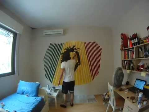 Time Lapse wall painting Tribute to Bob Marley