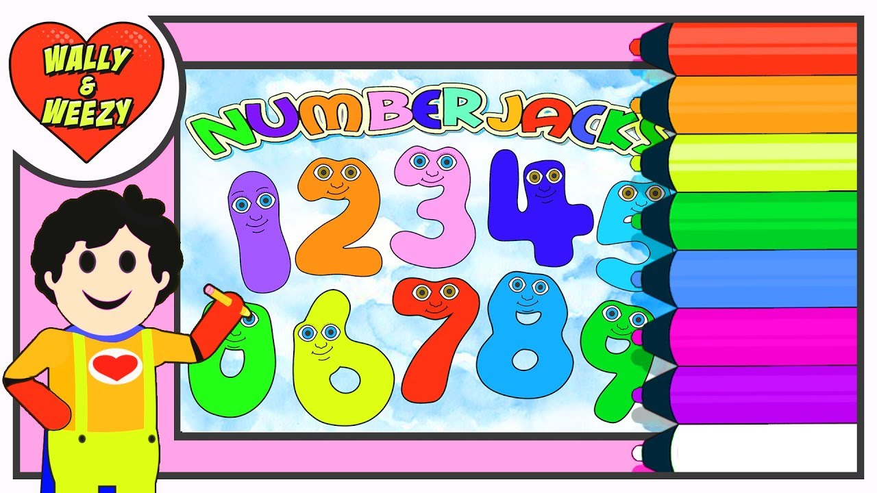 Những trang đầy màu sắc Numberjacks | Coloring Page |  Wally and Weezy