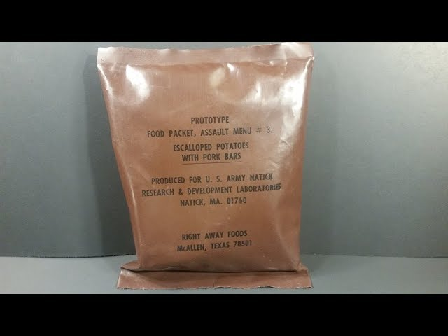 1981 Food Packet Assault 24 Hour MRE Review Potatoes w/ Pork Bars Prototype Ration Taste Testing