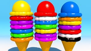 Learning Colors with 3D Ice Cream Balls for Children