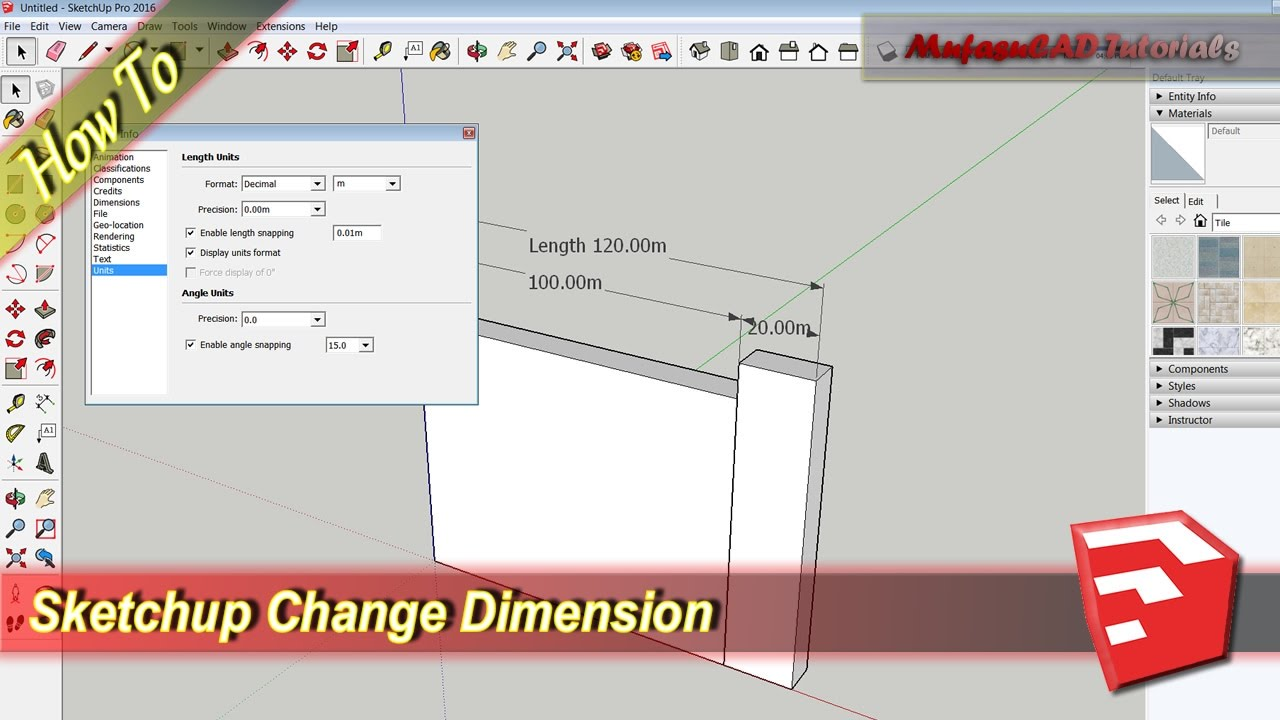 Sketchup How To Change Dimension Youtube