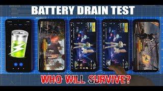 Redmi Note 7 Pro Vs Samsung Galaxy A50 Vs Samsung Galaxy M30 Vs Poco F1 BATTERY DRAIN TEST
