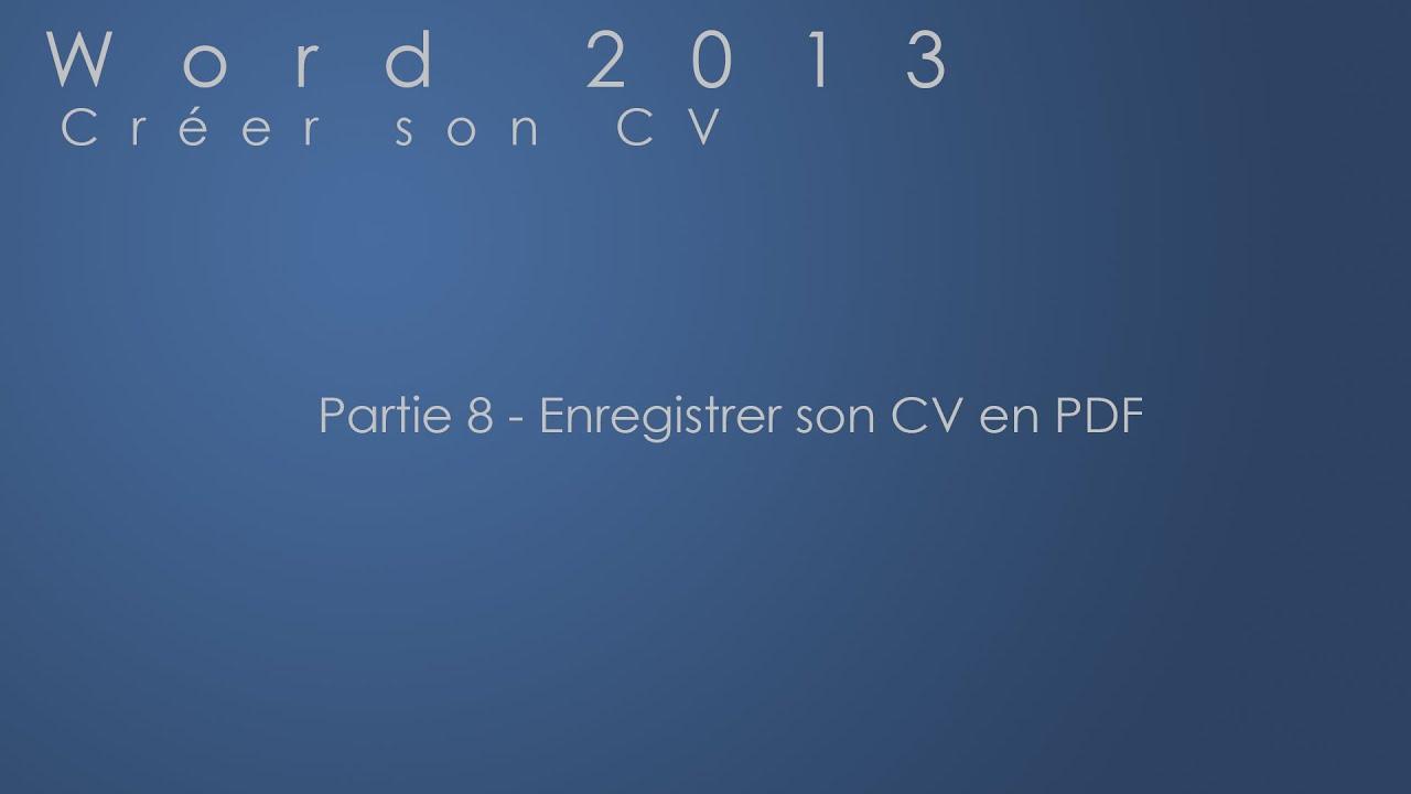 enregistrer pdf cv inkedin
