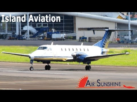 Air Sunshine Beech 1900 taxi and departure out of St. Kitts Airport !!