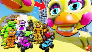 Freddy Animatronics Stunt RC Race Cars off Giant Toy Chica Animatronic! (GTA 5 Mods FNAF RedHatter)
