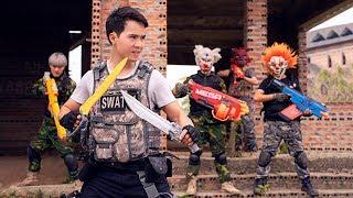 GUGU Nerf War : Police patrol CID Dragon Fight Evildoer Shaco Mask Nerf Guns Kungfu