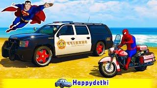 Человек паук на полицейской машине, мультики для детей, цветные машинки