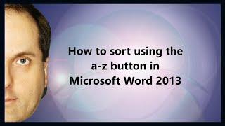 Comment faire pour trier à l'aide de l'un-bouton z dans Microsoft Word 2013