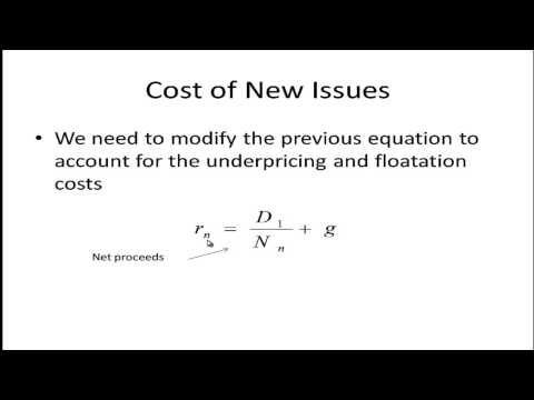 Cost of Capital - Issuing New Equity