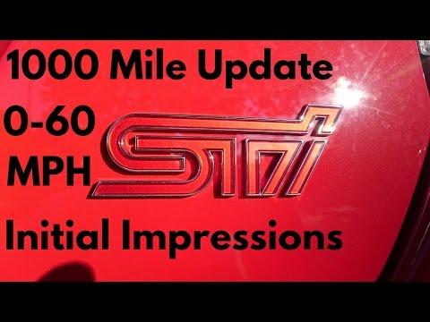 2017 Subaru WRX STI Pure Red - Vlog #1: 1000 mile update, 0-60 mph runs, Intital Impressions