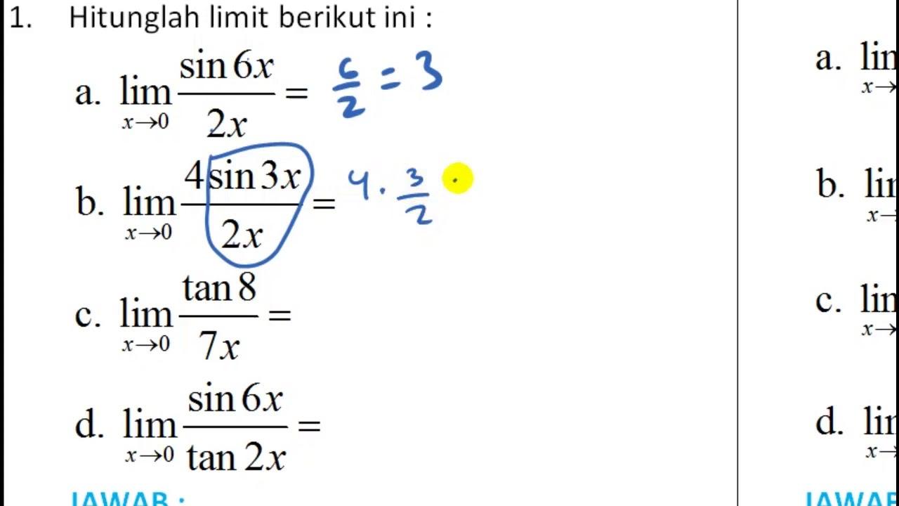 Konsep Dasar Rumus Limit Trigonometri Contoh 1 Youtube