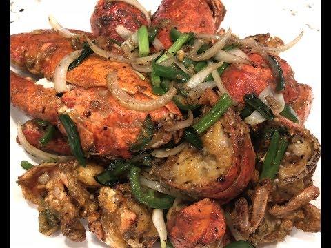 Khmer Food :House Special Lobsters បង្កងឆាស្ងួត