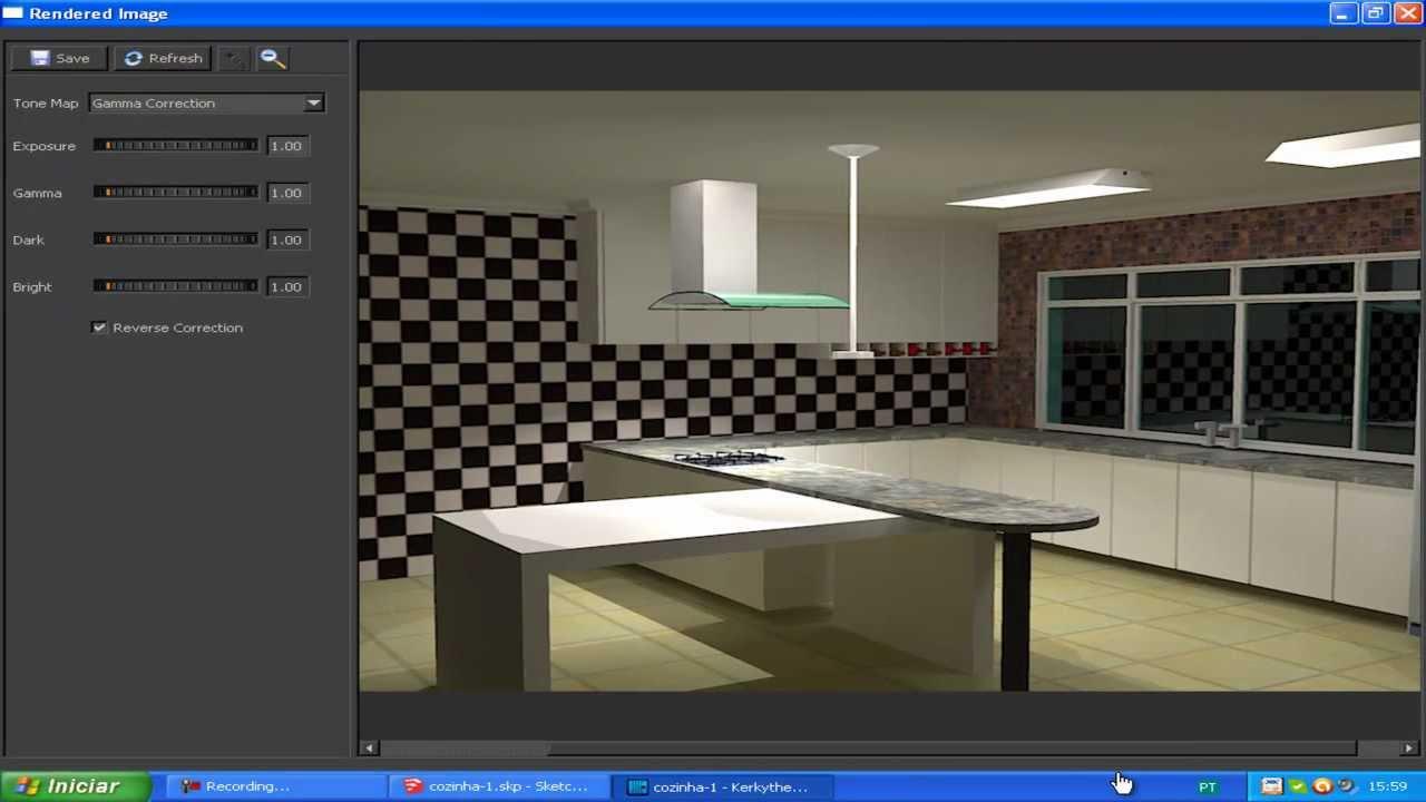 projeto de uma cozinha 3 sketchup e kerkythea youtube. Black Bedroom Furniture Sets. Home Design Ideas