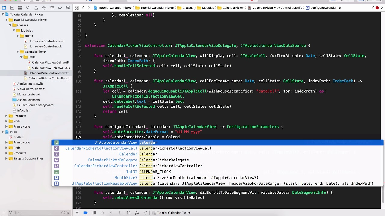 Tutorial Calendar Picker with JTAppleCalendar   Swift 4   XCode 9   Part 3    How to Show Dates and S