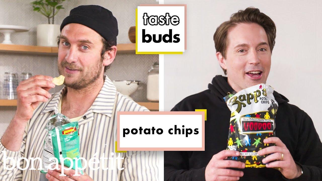 Download Beck Bennett & Brad Try 10 Kinds of Potato Chips   Taste Buds   Bon Appétit