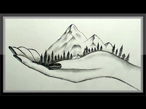 drawing-a-beautiful-mountain-in-hand-in-pencils-easy