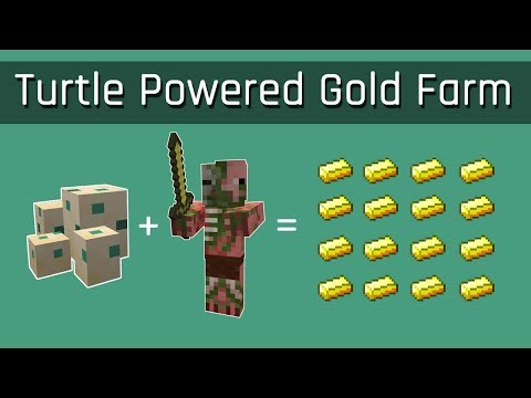 Turtle Powered Gold Farm (Simplest Possible) | Minecraft 1.13