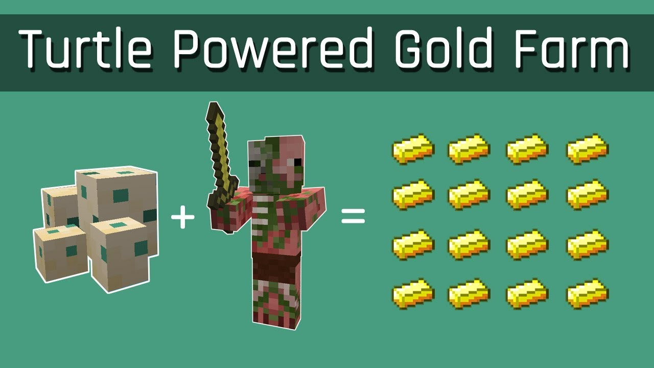 Turtle Powered Gold Farm (Simplest Possible)  Minecraft 11.111