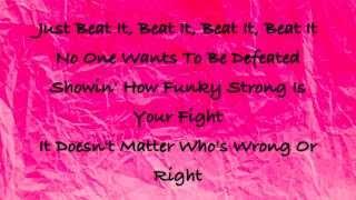 mj beat it lyrics on screen d