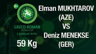 Group A Round 2 - Greco-Roman Wrestling 59 kg - E. MUKHTAROV (AZE) vs D. MENEKSE (GER) - Tehran 2015