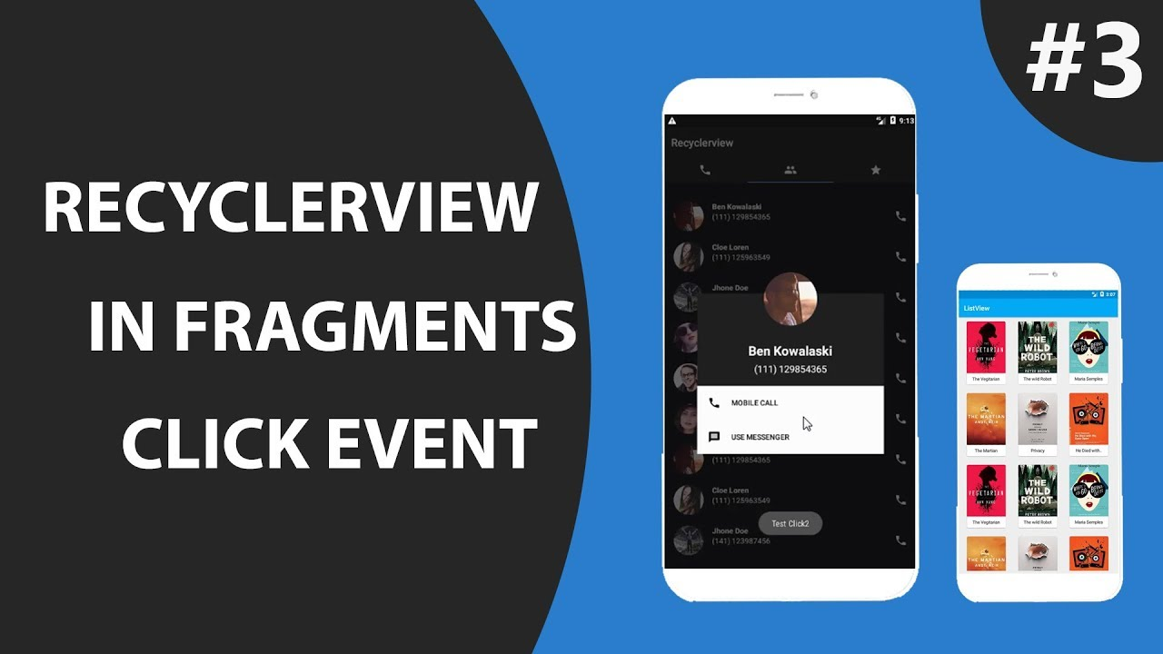 Fragment with RecyclerView Part 3 : item Click Listener Event : Show Custom  dialog Box