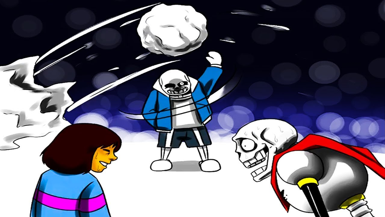 Sans, Papyrus & Frisk's Snowball Fight Goes Wrong    (Undertale Comic &  Animation Dubs)