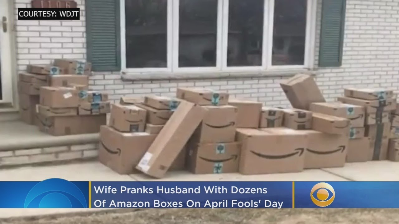 Wife Pranks Husband With Dozens Of Amazon Boxes On April Fools' Day