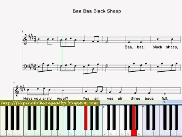Baa Baa Black Sheep Nursery Rhyme Piano Sheet Music Video With
