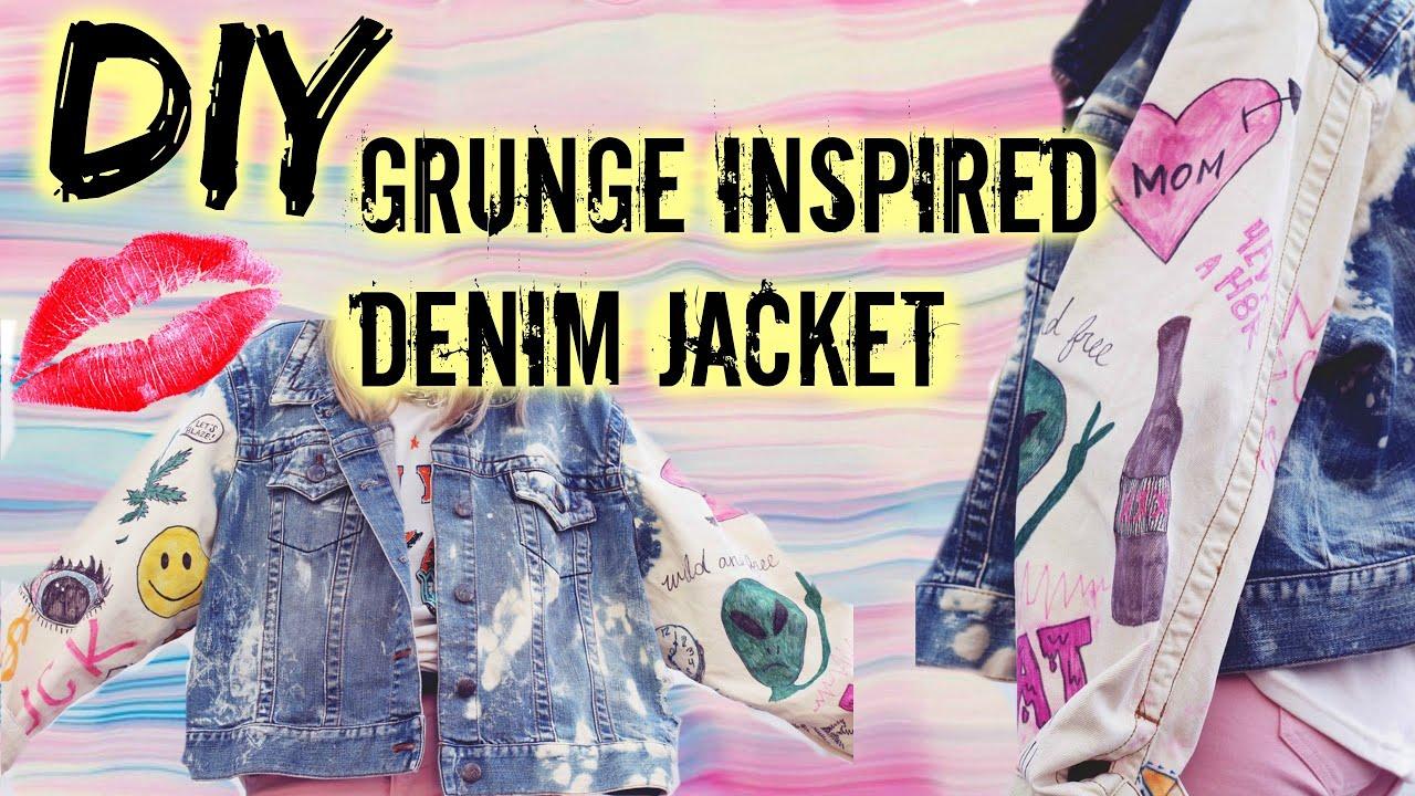 diy�� grunge inspired bleached denim jacket youtube
